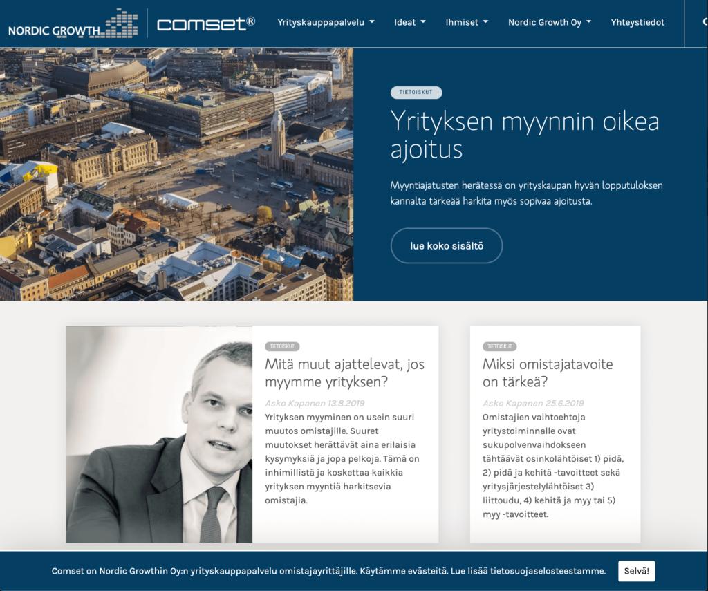 Comset.fi -etusivun kuvakaappaus